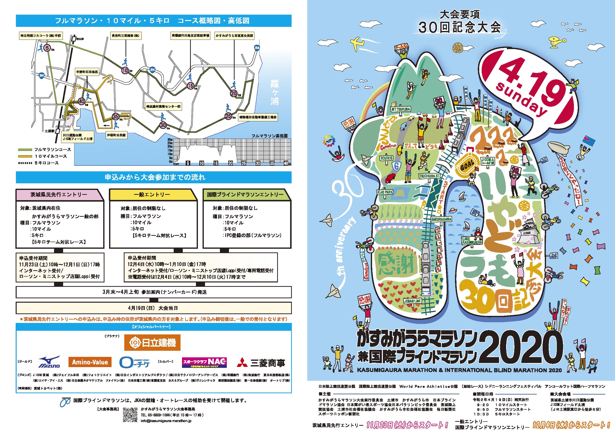 かすみがうらマラソン2020大会要項パンフレット